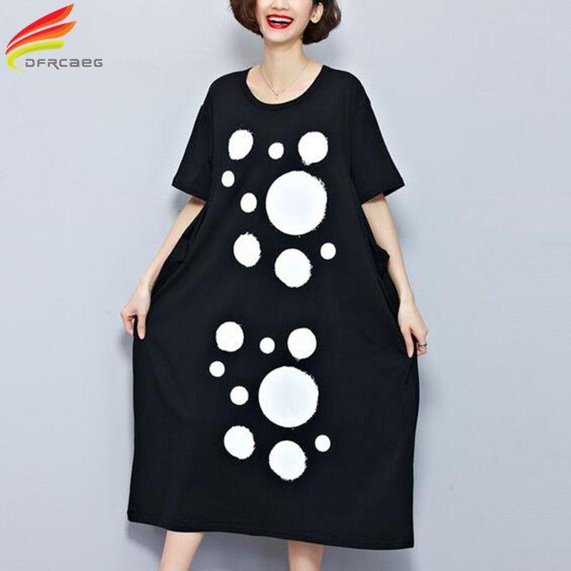 8d9d525f61 Click to Buy    Big Size Women T-Shirt Dress Long Polka Dot Print ...