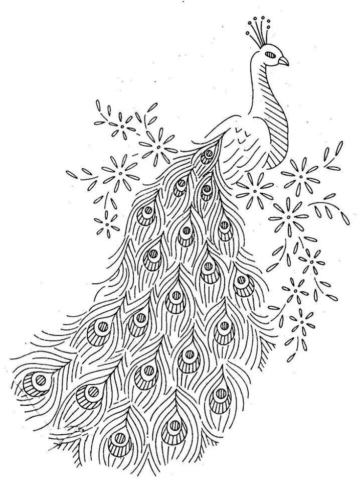 Tavus kuşu   Peacocks   Bordado, Bordado a mano, Dibujos para bordar