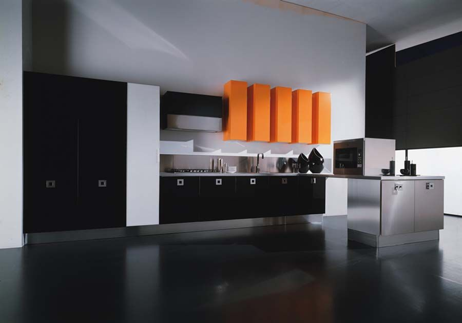 Cheerful Design Elegant Black And White Kitchen With Orange