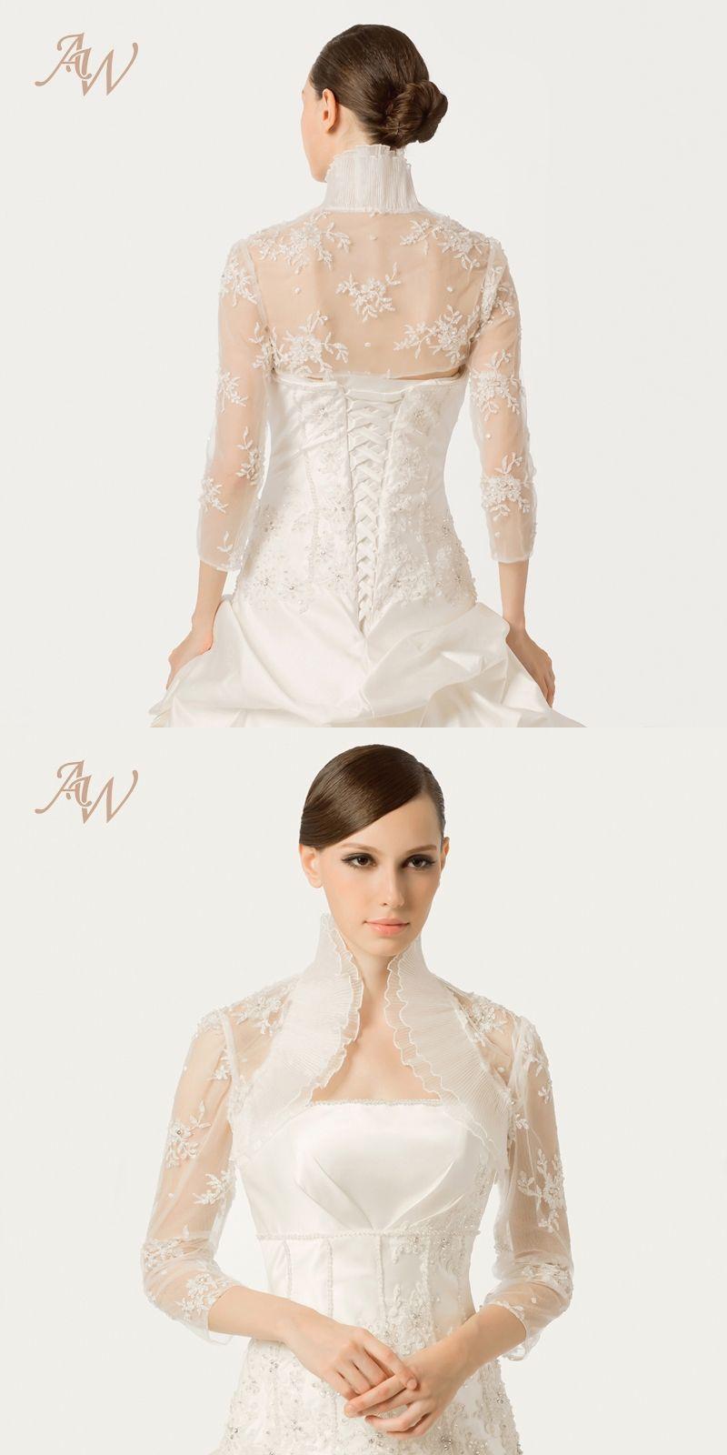 b0d3eb8d28 AW Ivory Lace 3 4 Sleeves Ruffled Neck Bridal Wrap Jackets Bolero Shaw for  Wedding