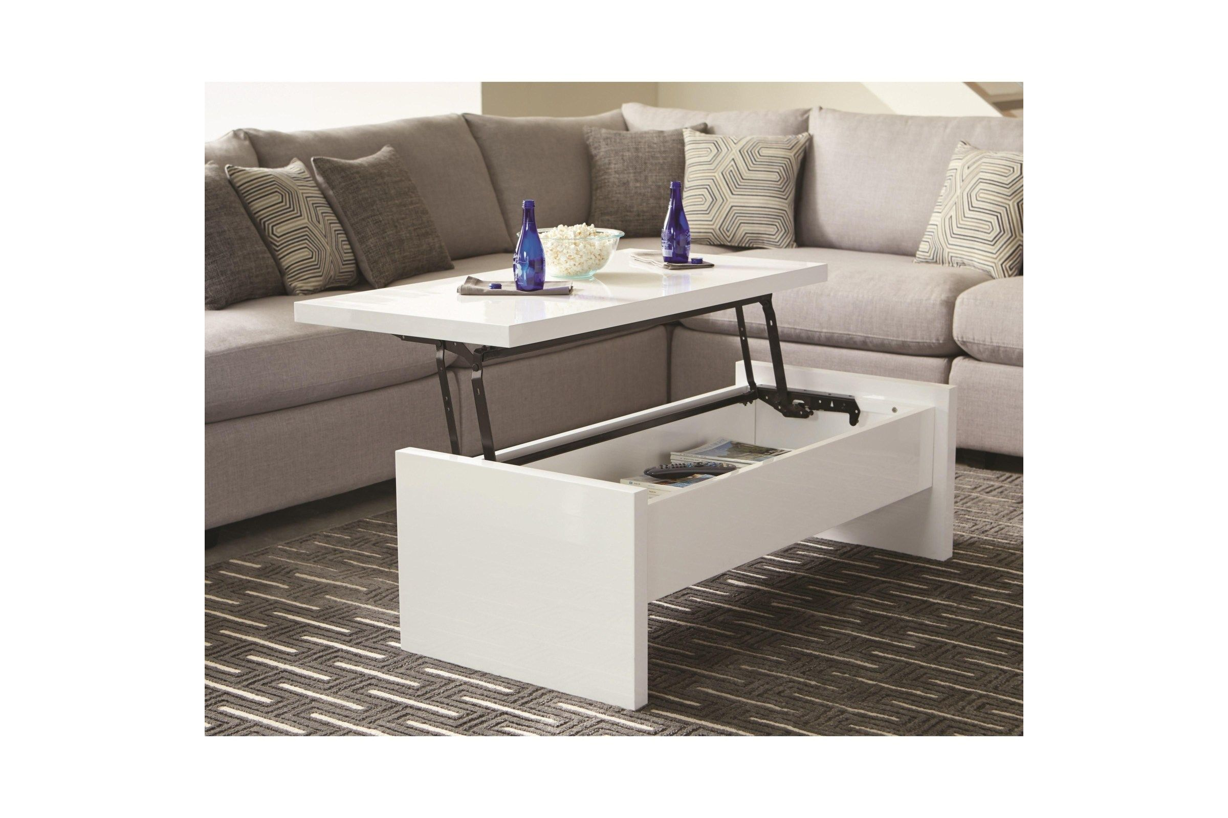 Scott Living Contemporary White Lift Top Coffee Table Lift Top