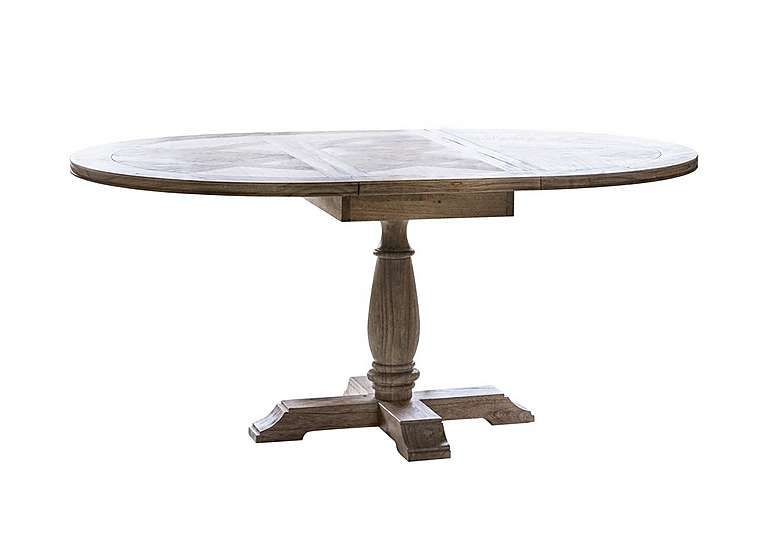 Round extending wooden dining table seats 6 With weathered finish