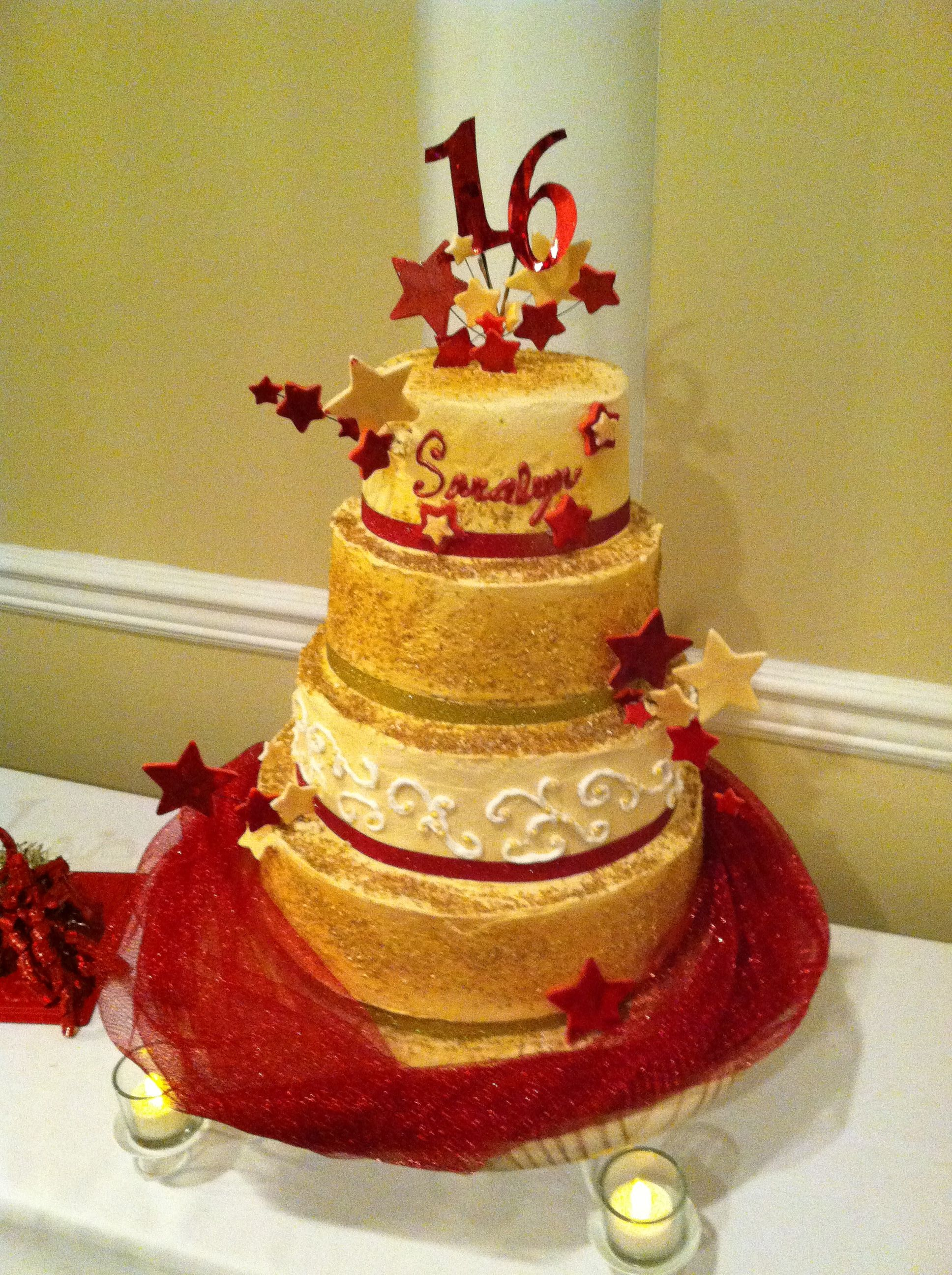 Sweet Sixteen, Red & Gold theme with Stars   Custom Cakes by Lissa ...