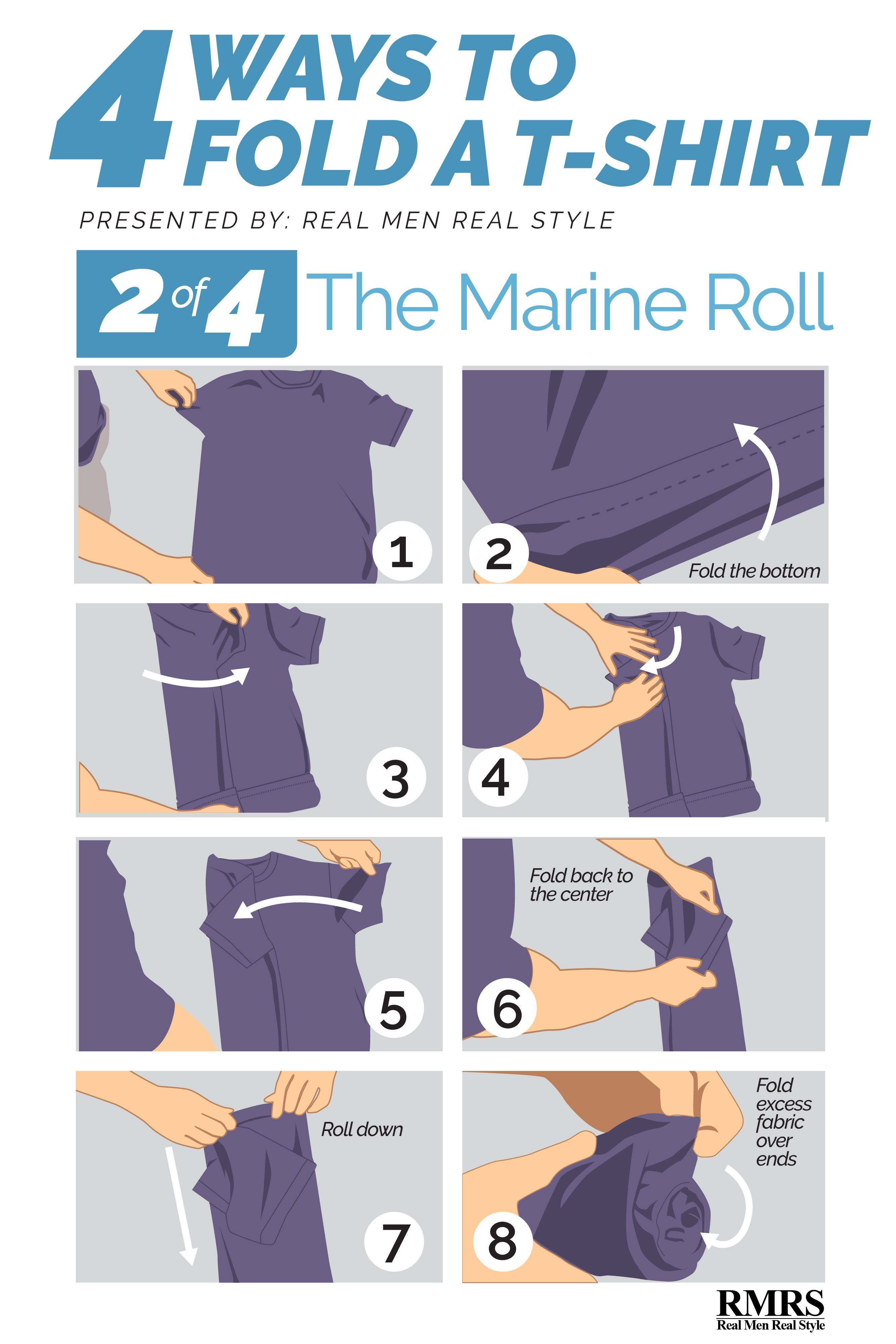 Folding tshirts marine roll this roll takes up very