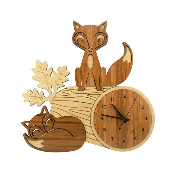 Fox on a log bamboo clock. Too cute!