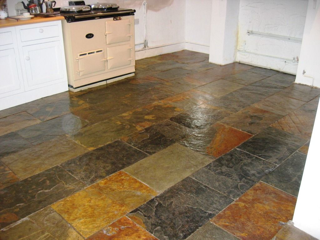 Southampton slate tiled floor after cleaning household products cleaning slate tiles in a southampton kitchen dailygadgetfo Image collections