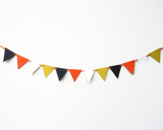 Halloween Party Bunting Candy Corn Banner Yellow by ThePaperLake, $10.00