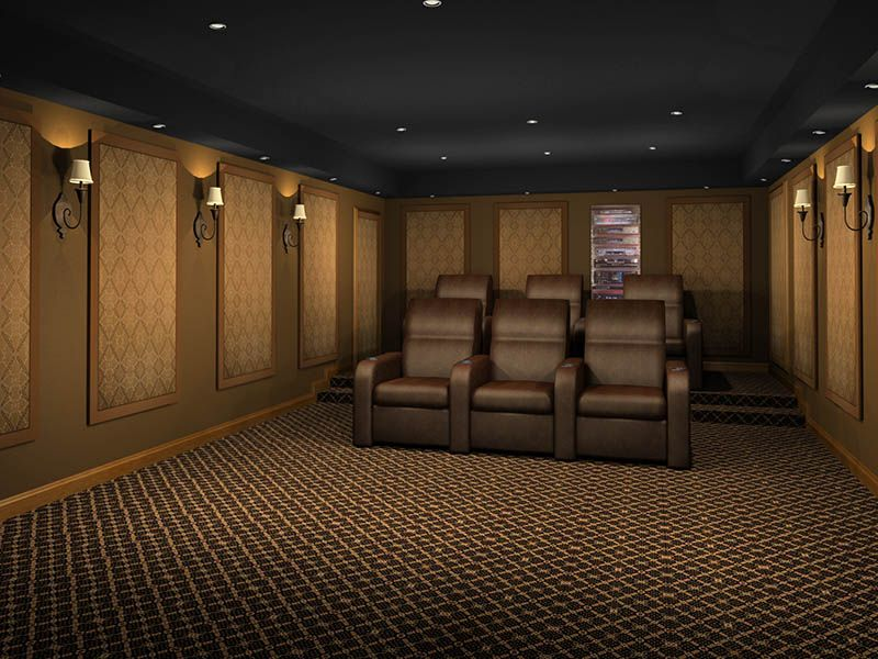 Traditional Cafe Pattern Wall Art Panels Home Cinema Room Acoustic Panels Home Theater Design
