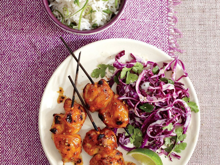 Pineapple Chicken Kebabs with Cilantro-Lime Slaw #cilantrolimeslaw A sweet-tangy-spicy glaze of Asian pantry staples caramelizes beautifully under the broiler. To complete the meal, serve with jasmine... #cilantrolimeslaw Pineapple Chicken Kebabs with Cilantro-Lime Slaw #cilantrolimeslaw A sweet-tangy-spicy glaze of Asian pantry staples caramelizes beautifully under the broiler. To complete the meal, serve with jasmine... #cilantrolimeslaw