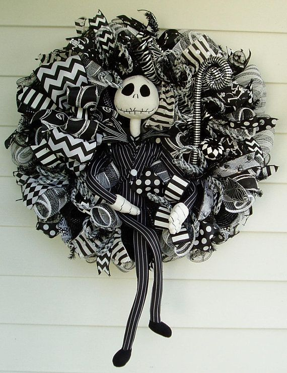 Jack Skellington Wreath, Nightmare Before Christmas Wreath, Pumpkin