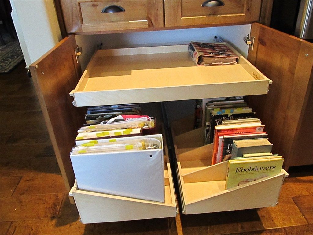 Create Lasting Kitchenorganization With Custom Pull Out Shelves And Sloped Pulloutshelves Dividers Perfect For Storing Cookbookore