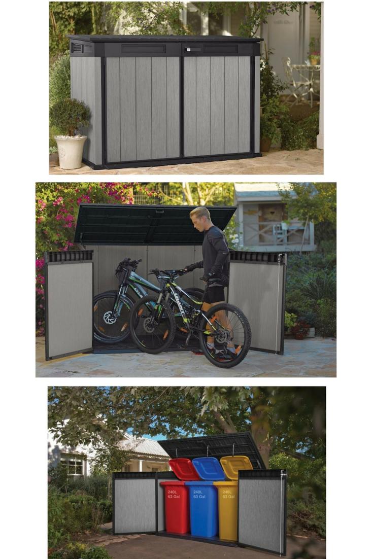 Triple Wheelie Bin Storage Bike Storage Patio Shed Low