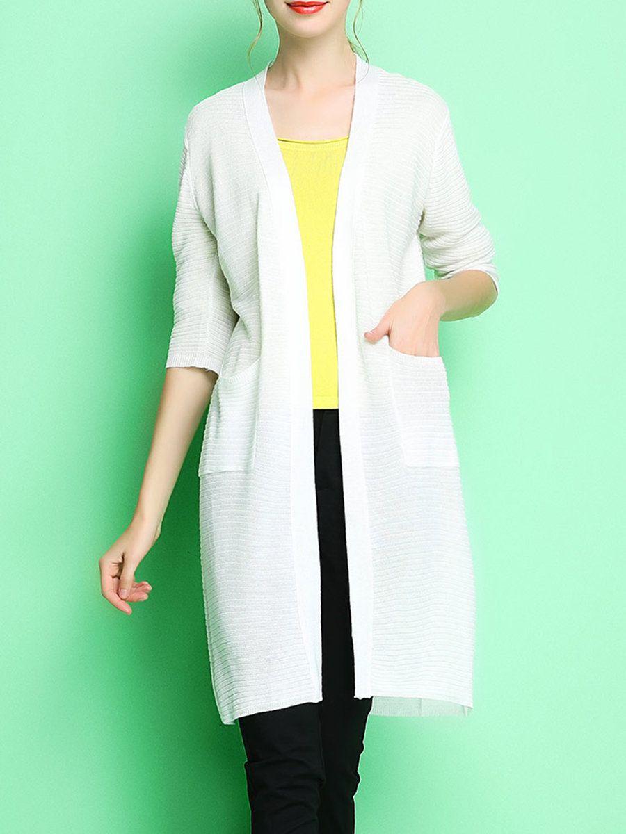 #AdoreWe #StyleWe Designer Cardigans - Designer ONEBUYE Solid Casual Pockets 3/4 Sleeve Longline Cardigan - AdoreWe.com