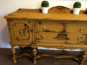 Antique Yellow Milk Painted Distressed Buffet Sidetable