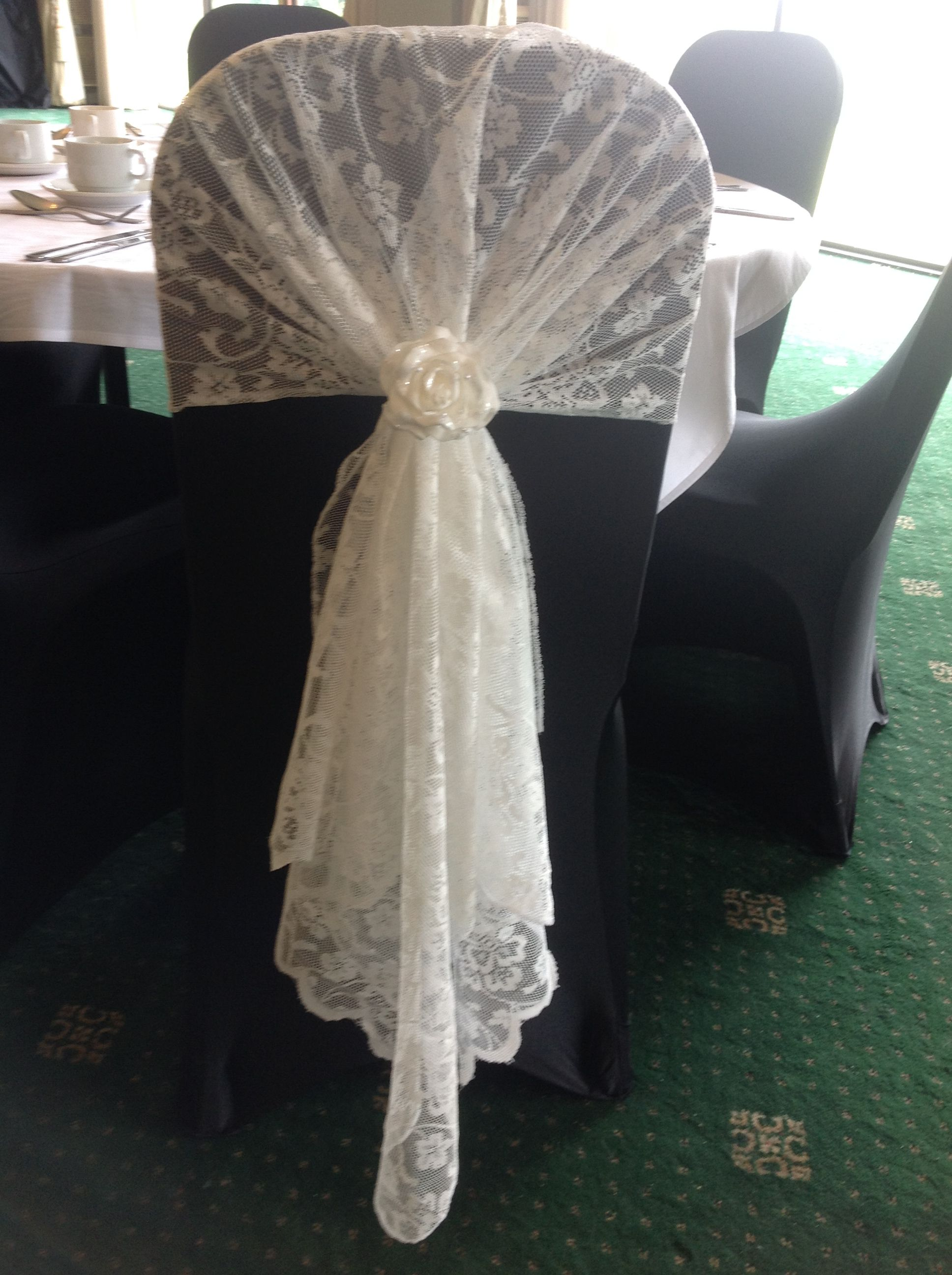 wedding chair covers tamworth fishing backpack gorgeous vintage lace hood with rose detail shows up beautifully on our black available to hire from make it special events atherstone