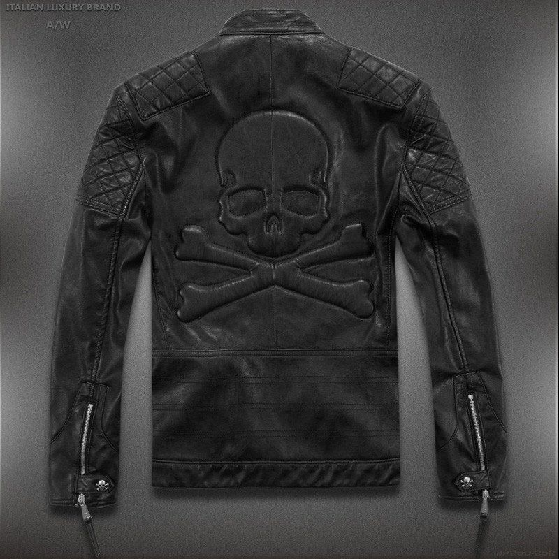 High Quality Skull Leather Jacket Asian Sizes Check Table Please