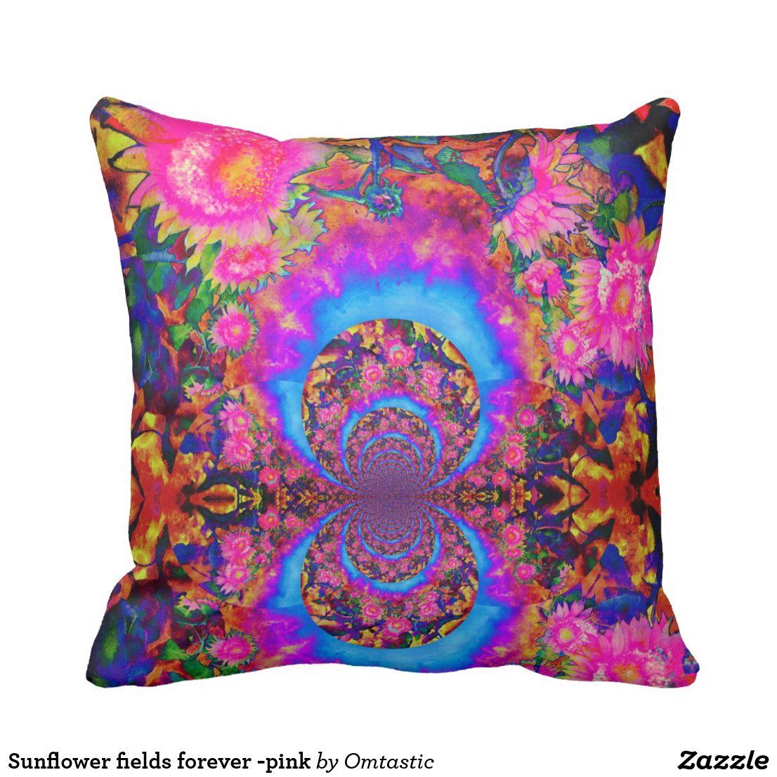 Sunflower fields forever -pink throw pillow