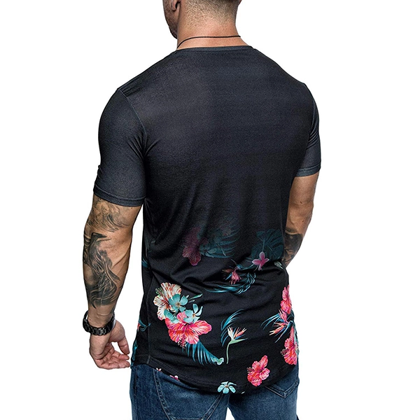 Casual Top Fashion Mens Short Sleeve Tops Floral Solid T-Shirt Slim Fit New