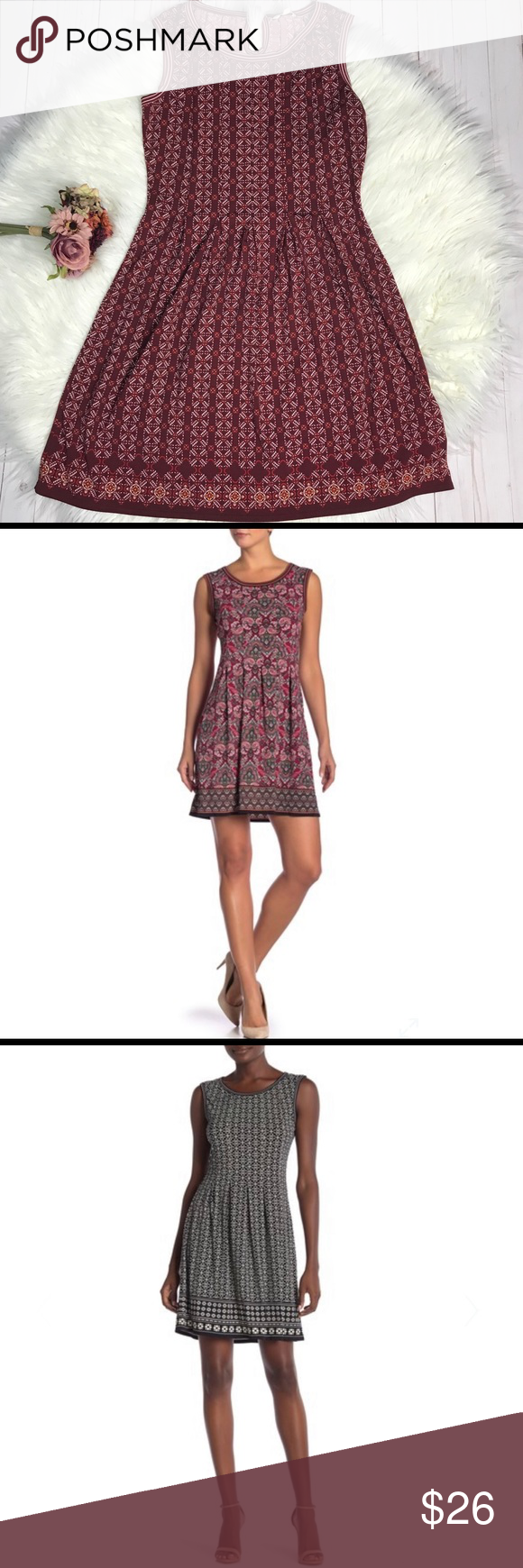 fa5be61bbe Max Studio Pleated Patterned Fit n Flare Dress Burgundy background with  white and cream print. Stock photos are same dress