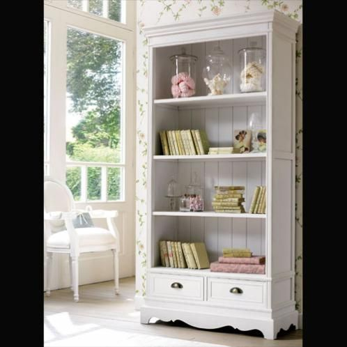Paulownia 2-Drawer Bookcase in White House - meuble bibliotheque maison du monde