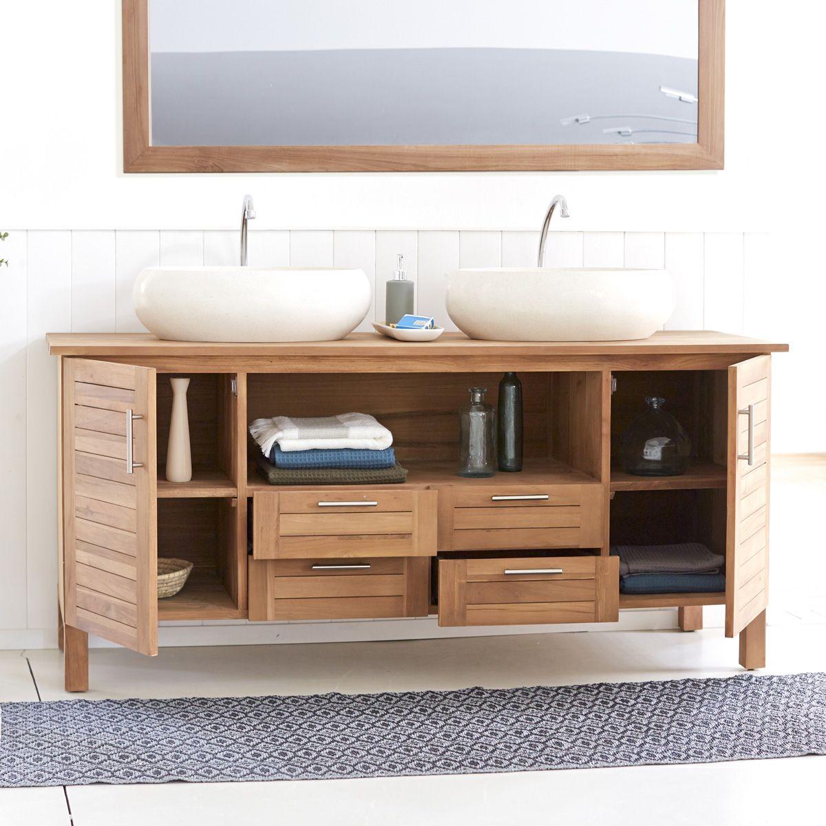 Meuble Double Vasque En Teck 165 Cm Meuble Salle De Bain Unterschrank Badezimmerideen Badezimmer