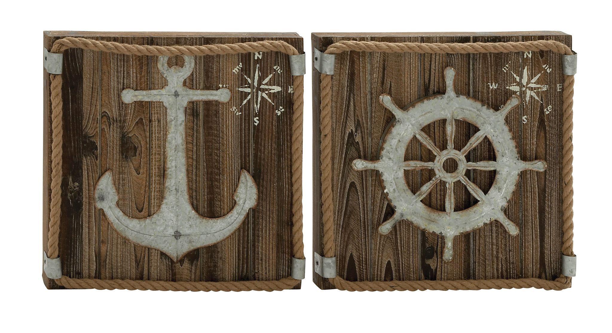 "Anchor & Wheel Wood Metal Wall Decor 2 Assorted 15""W, 15""H"
