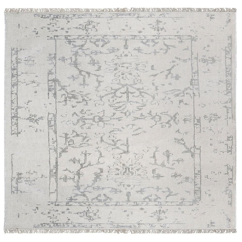 Belleville Ivory and Silver 6 in. x 6 in. Square Indoor Area Rug-TN-499195 - The Home Depot