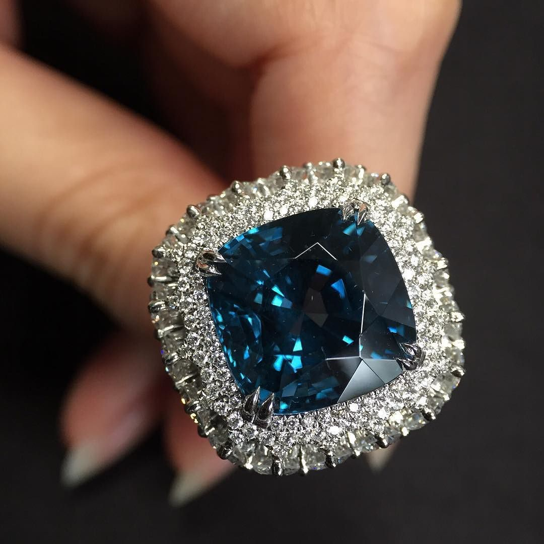 Dehres On Instagram A Spectacular 13 Carats Cushion Shape Unheated Blue Spinel Ring With Micro Set Diamonds A Ver Dream Jewelry Beautiful Jewelry Gemstones