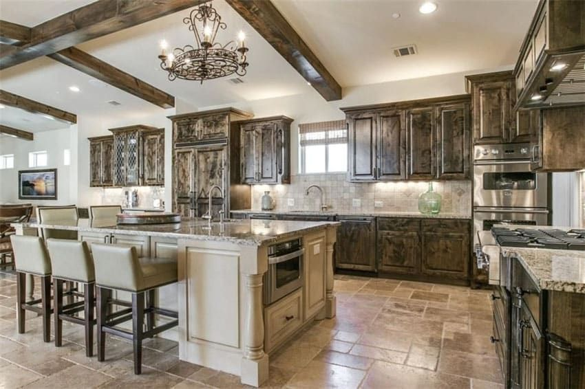 Traditional Mediterranean Style Kitchen With Large Island And