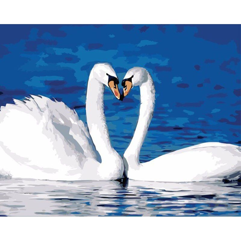 White Swan DIY Digital Canvas Oil Painting By Numbers Nordic Style Hand Painted Home Decor For Living Room SZH-564
