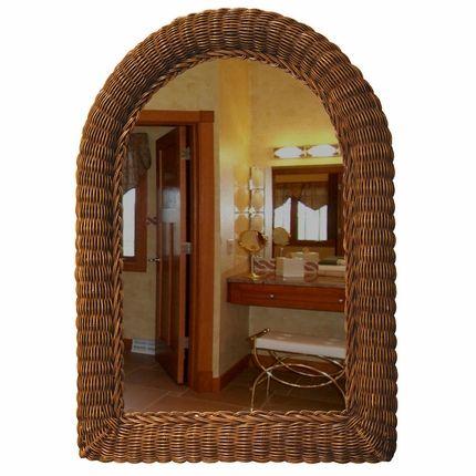 Arch Top Wicker Wall Mirror