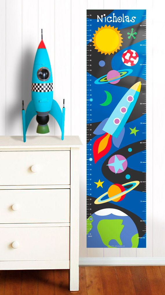 Outer Space Wall Decal Growth Chart by Olive Kids by olivekids - boys growth chart