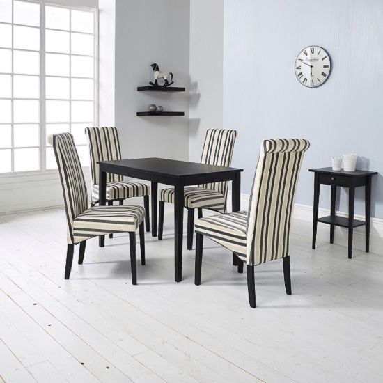 Dining Table Sets Deals: Carmel Wooden Dining Table In Matt Black And 4 Cream