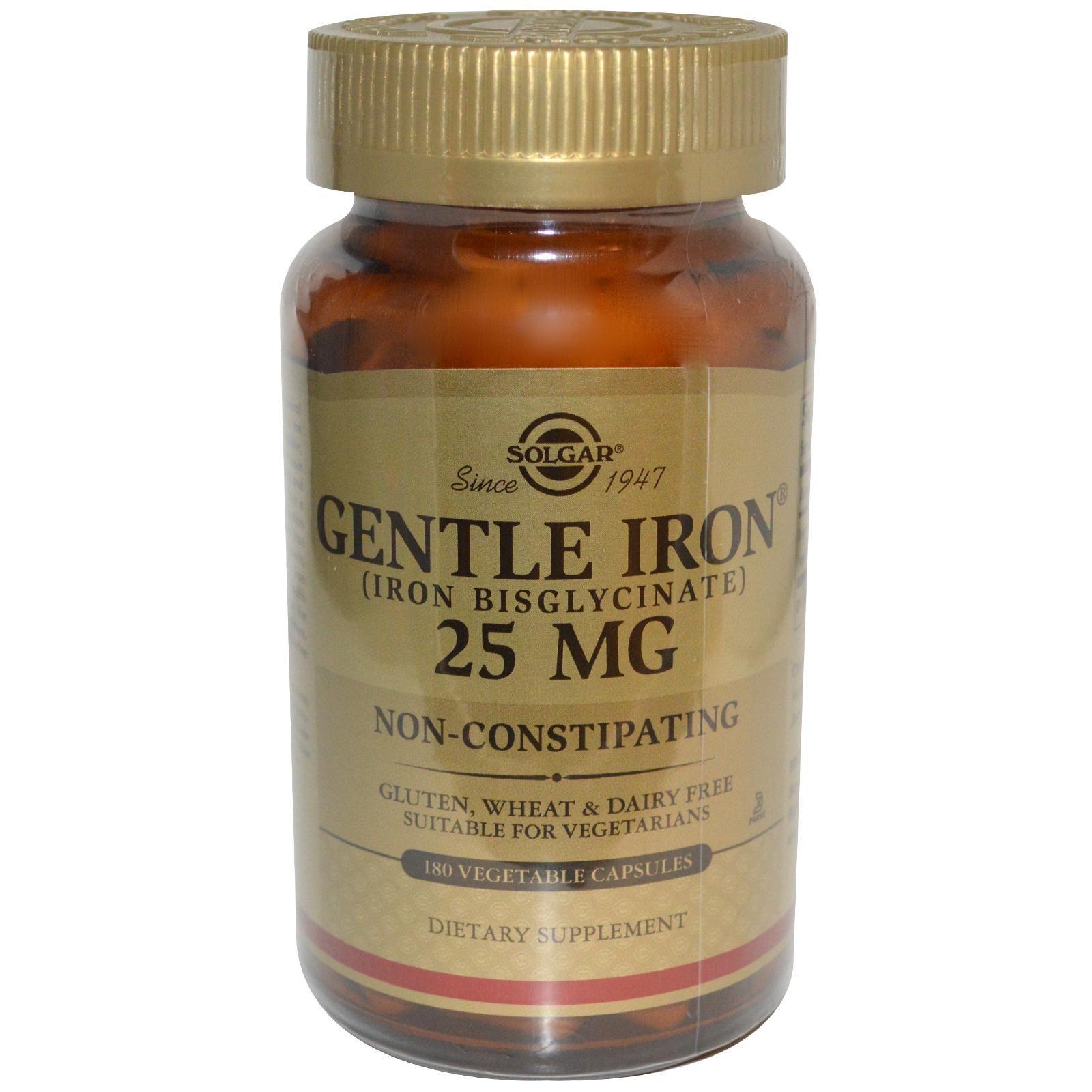 Solgar Gentle Iron 25 Mg 180 Vegetable Capsules Veggie Capsule Dietary Supplements Vegetable Capsules