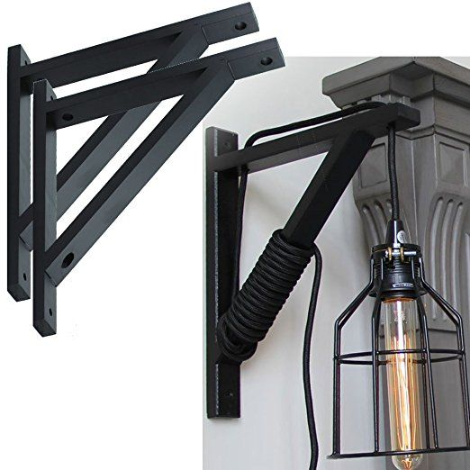 Set Of 2 Wall Mount Wood Bracket Scone Pendant Lamp Kit For Dyi Project Black Rustic Lamps Pendant Lamp Unique Lamps