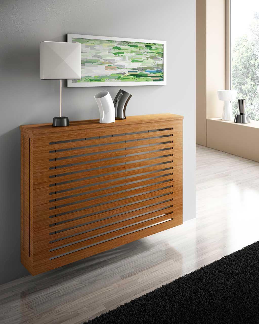 Mueble cubreradiador de dise o acabado blanco y madera for Mueble cubreradiador