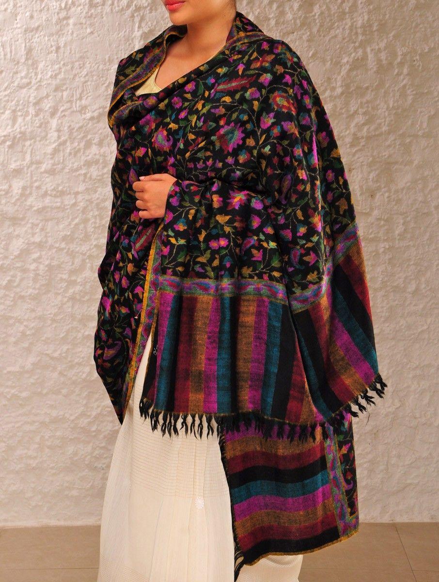 acf60b32c Fine Kashmir Pashmina Dorukha Kani Bel-Butedar Design Hand Woven Shawl  #mystatewithjaypore
