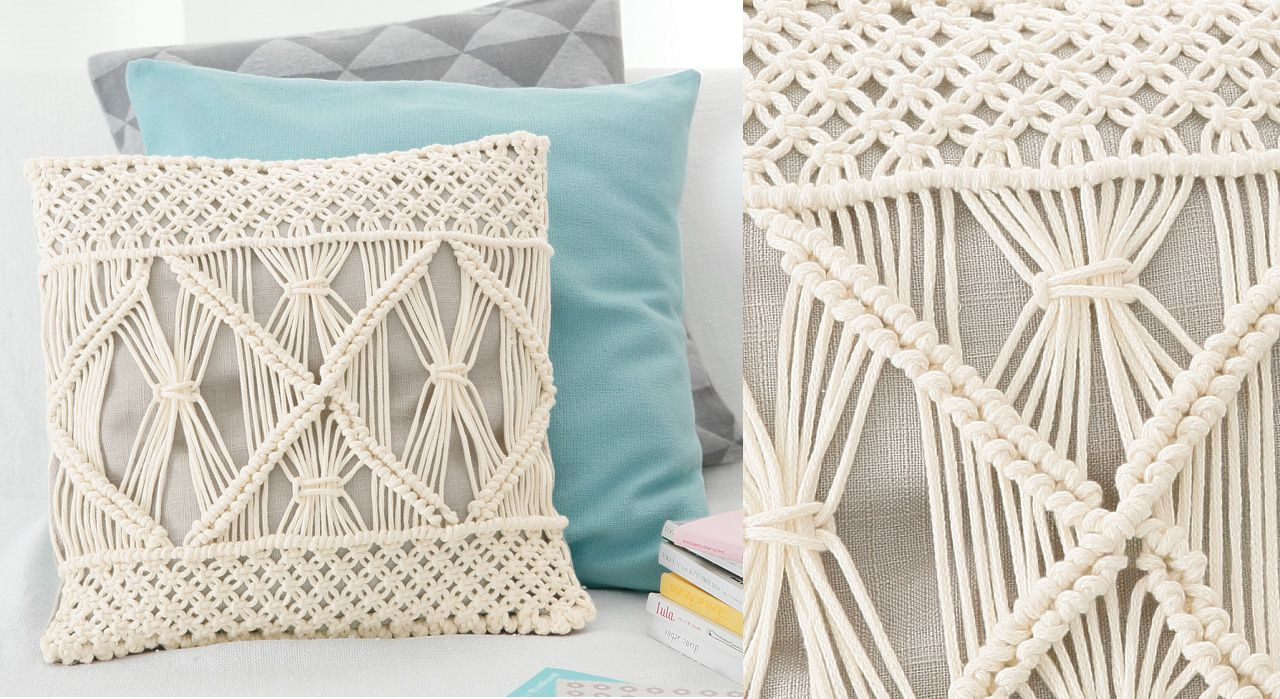 le coussin en macram tricot crochet pinterest. Black Bedroom Furniture Sets. Home Design Ideas
