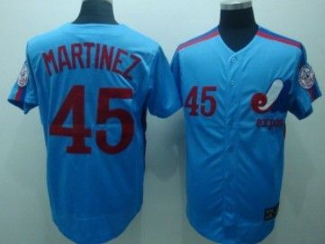 new styles 28814 d0179 Montreal Expos #45 Pedro Martinez Blue Throwback Jersey ...