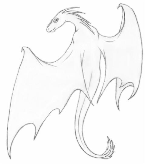 how to draw simple dragon wings