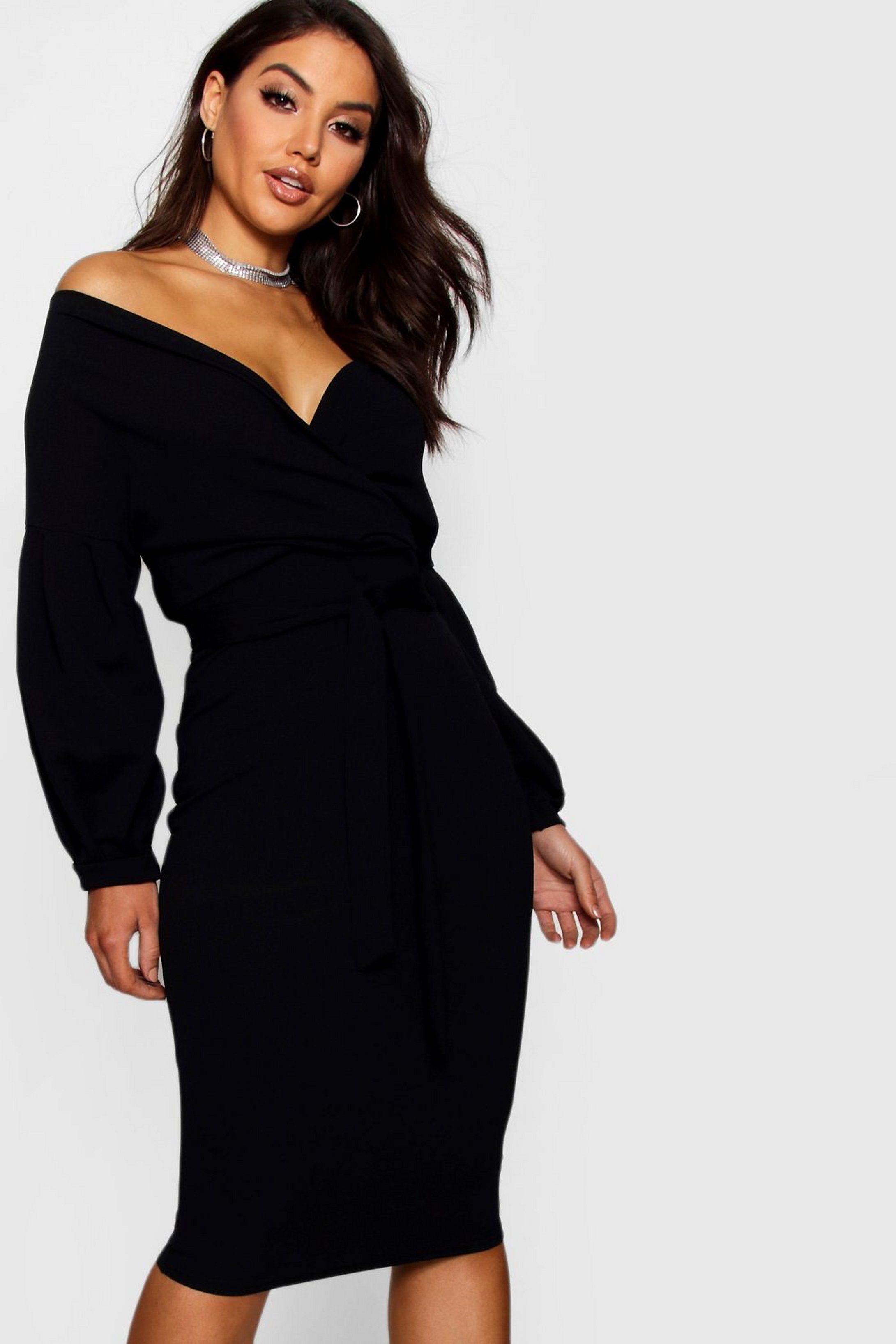 Off The Shoulder Wrap Midi Dress Boohoo In 2020 Fashion Stylish Wrap Dress Bodycon Fashion