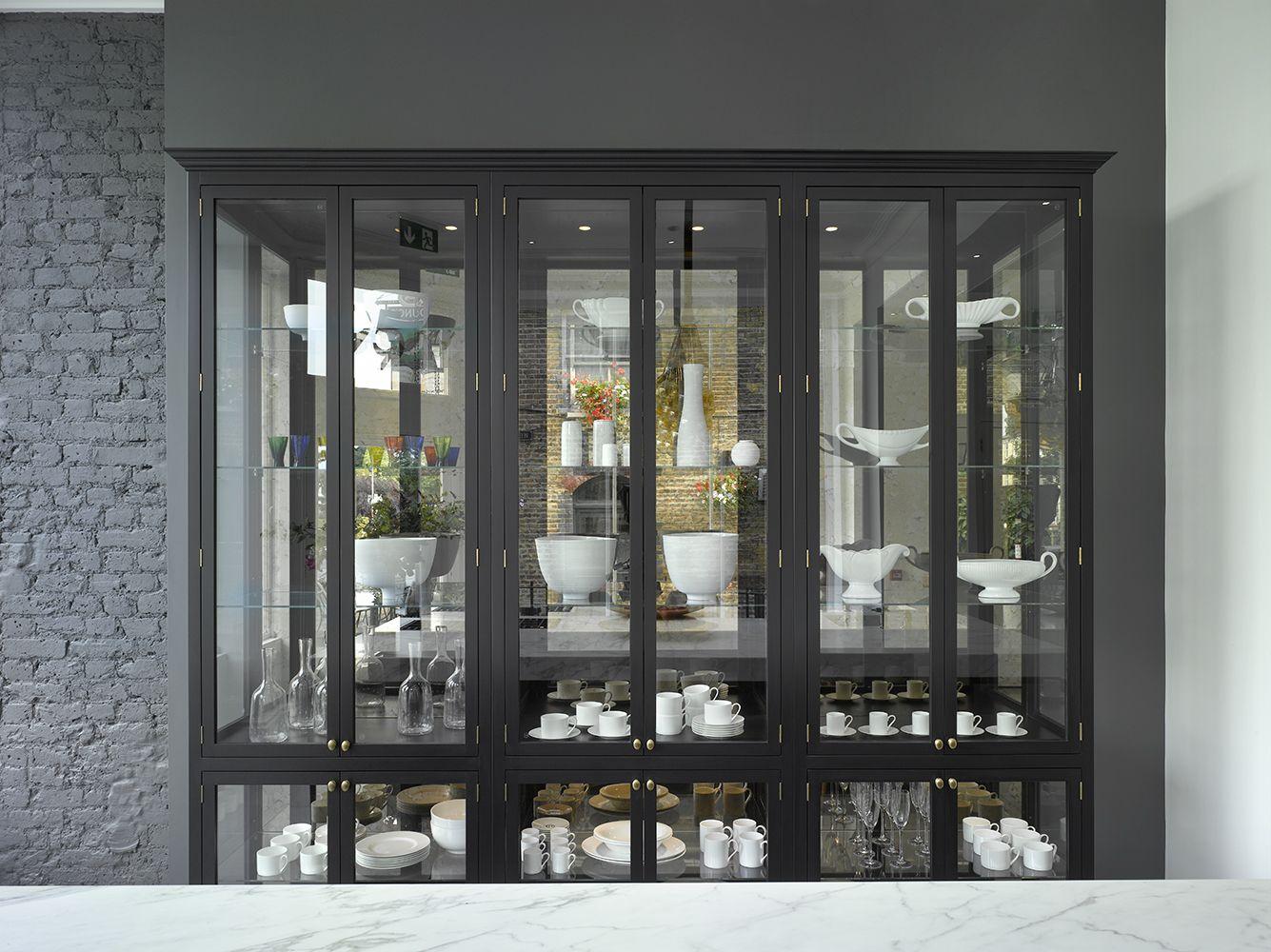 Clapham Shaker Kitchen: The Roundhouse Nightingale Glazed, Matt Lacquer Cabinet Is