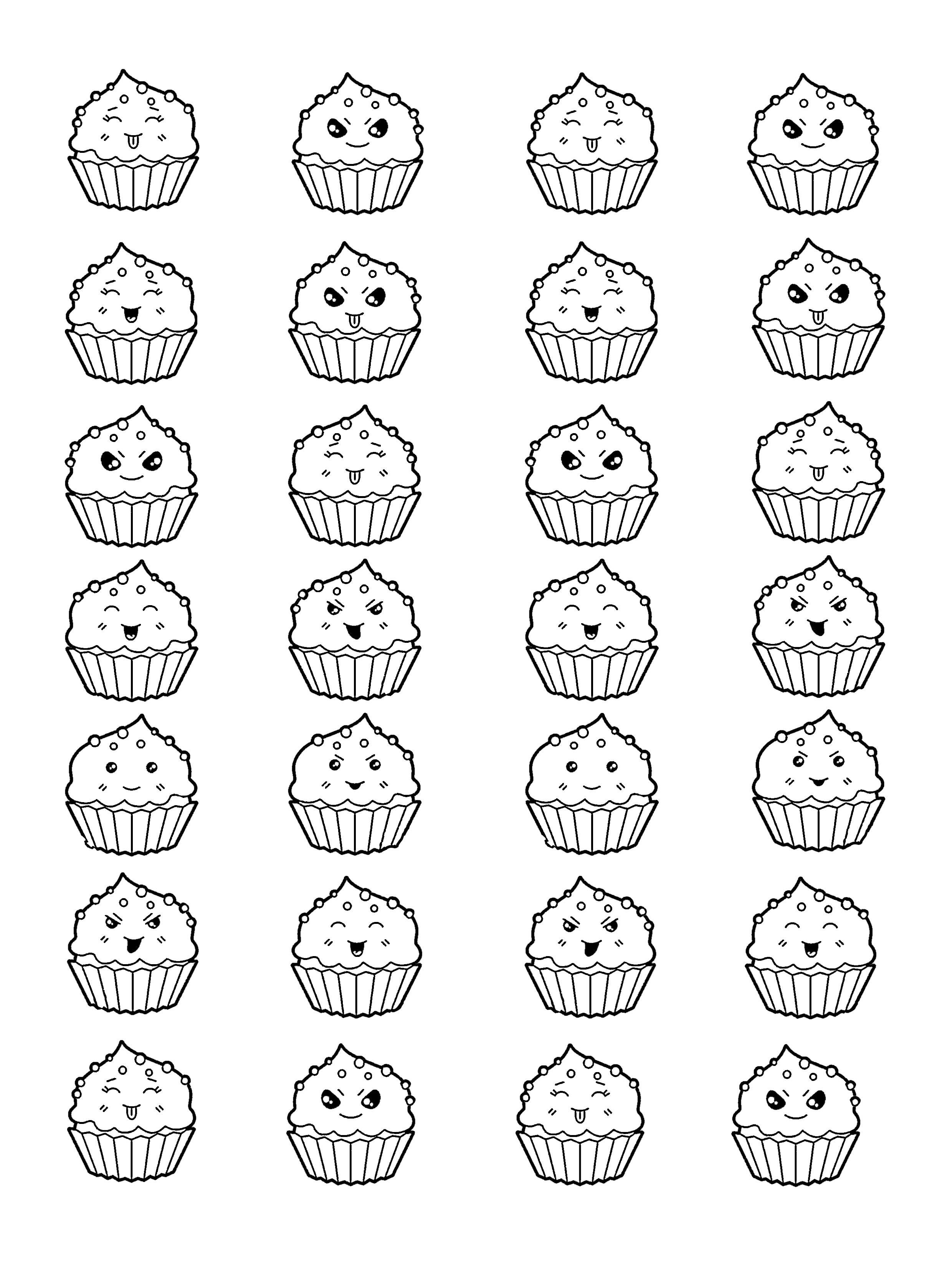 Coloriage Kawaii Licorne A Imprimer Luxe Image Cup Cakes Kawaii