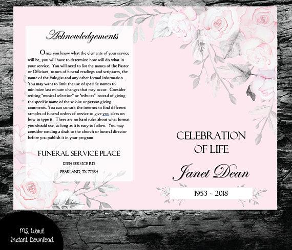 Funeral Program Template Baby Pink Rose Watercolor Greenery