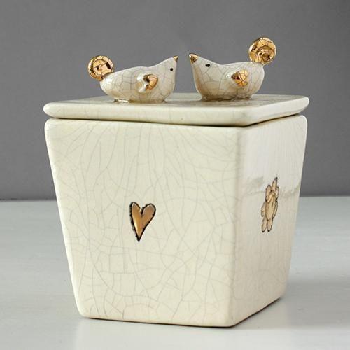 Iapetus Square Ceramic Box With Love Birds Lid By Sophie Smith Ceramic Boxes Ceramics Decorative Boxes
