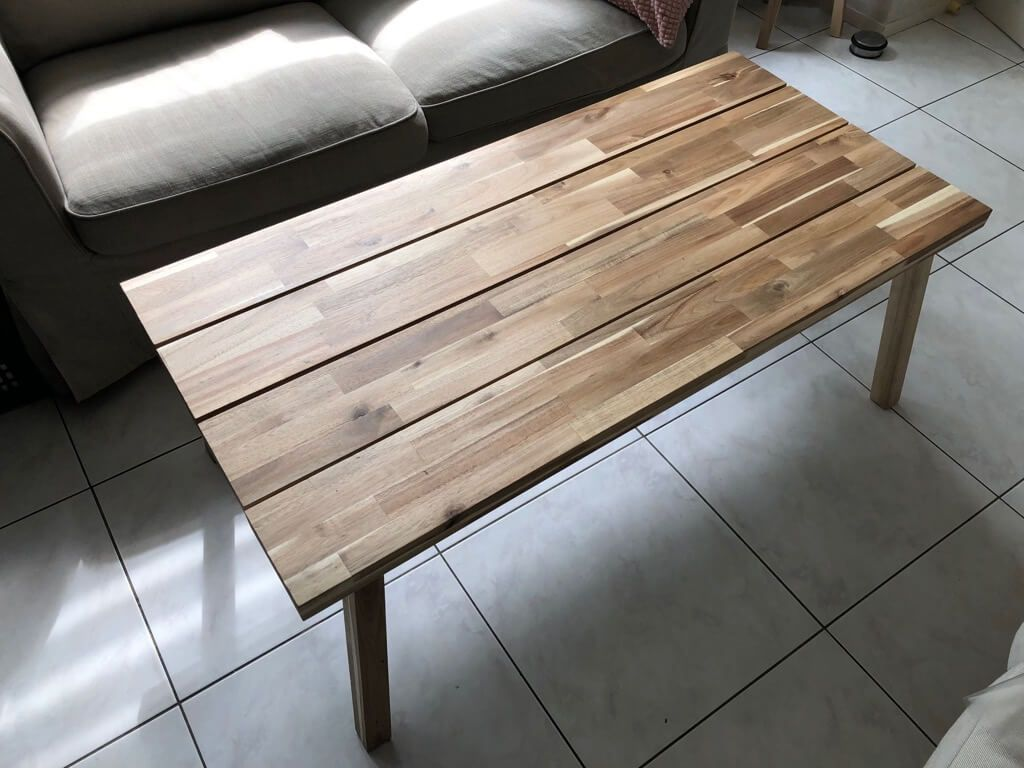 Natural Wood Coffee Table Hacked From 2 Benches Ikea Hackers Coffee Table Coffee Table Steel Frame Natural Wood Coffee Table [ 768 x 1024 Pixel ]