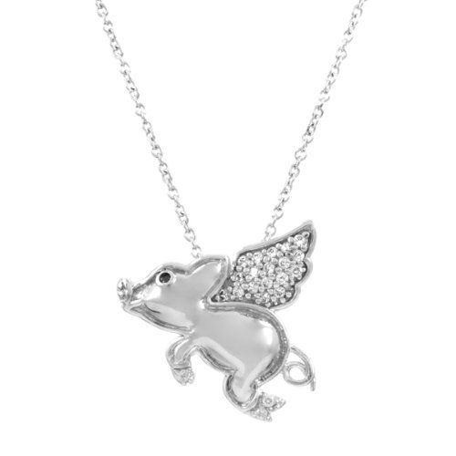 Genuine .925 Sterling Silver 3D Flying Pig Charm