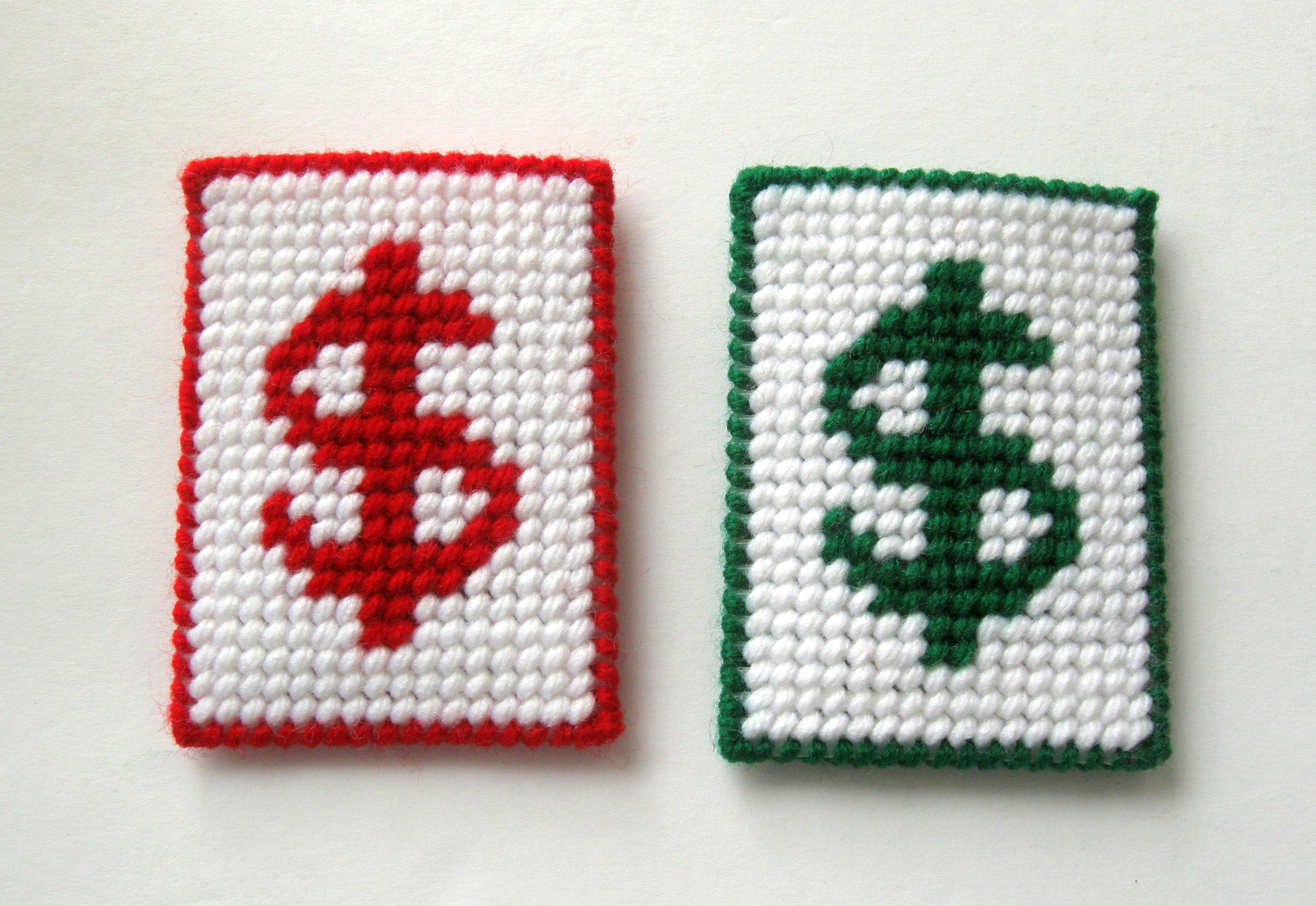 Photo of Dollar Sign Gift Card/Money Holder – Plastic Canvas Needlepoint – Red and White – Green and White – Your Choice