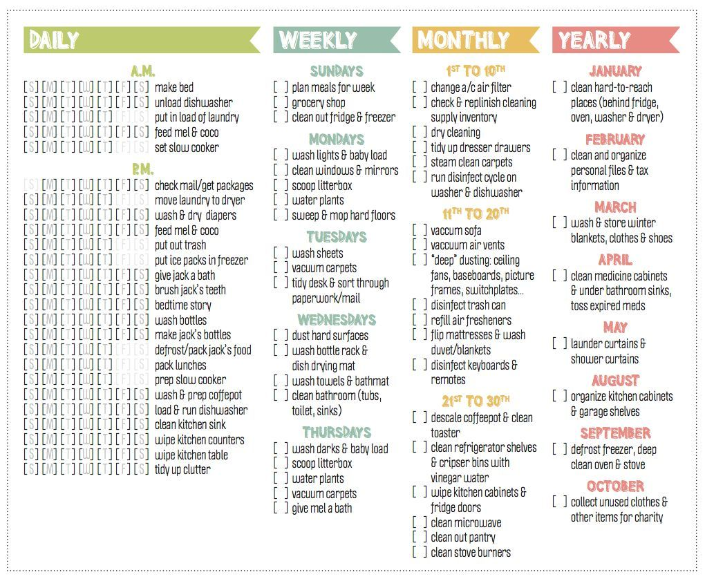 daily weekly monthly and yearly cleaning checklist mine would be different chores but i love this layout