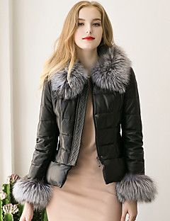 752087afd92e9 Women s Street chic Fur Coat Solid Round Neck Long Sleeve Winter Black Faux  Fur   PU Thick